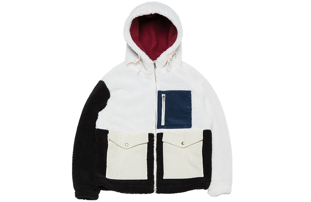 Color-block Heavy Fleece Parka (white)