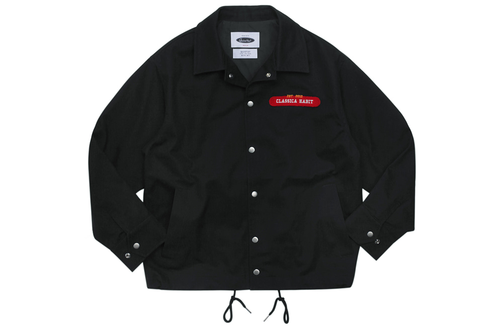 Flag Panel Embroi Coach Jacket (black)