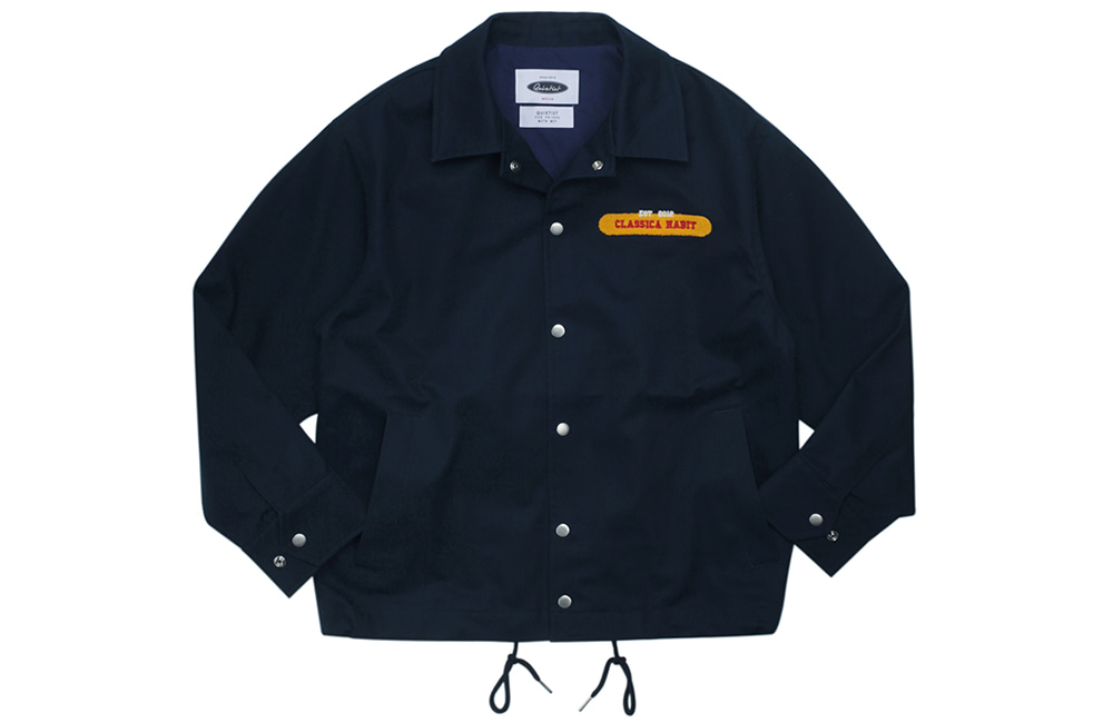 Flag Panel Embroi Coach Jacket (navy)
