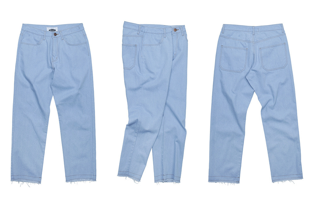 Standard Raw Edge denim pants (pale)