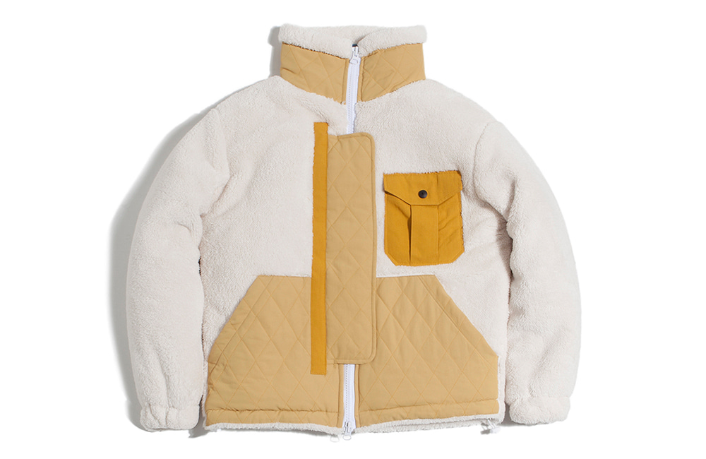 NEO Quilted Heavy Fleece Zip-up (ivory)