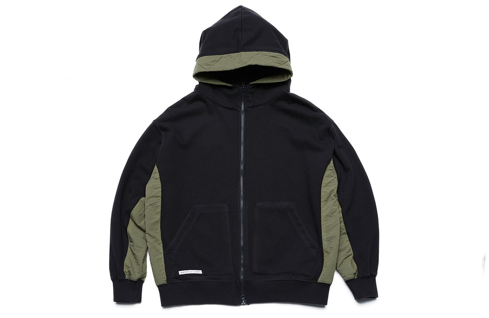 Fabric Mix Hood Zip-up (black)