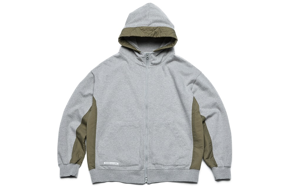 Fabric Mix Hood Zip-up (gray)