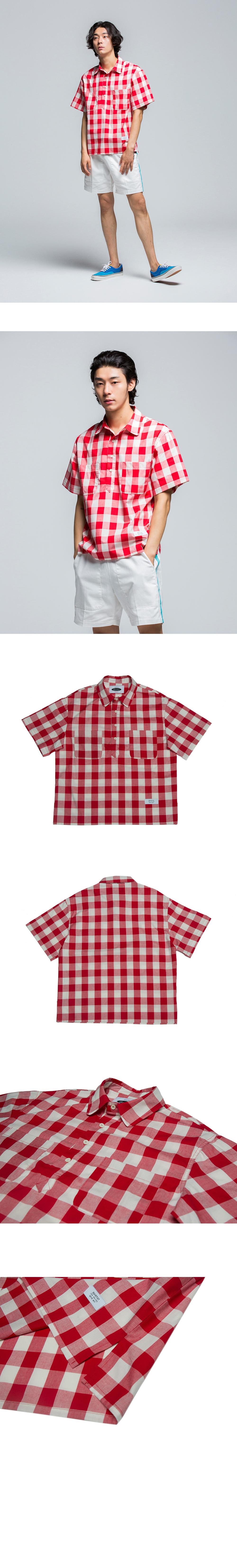 콰이어티스트 Checker Board Pull-over Shirts (red)