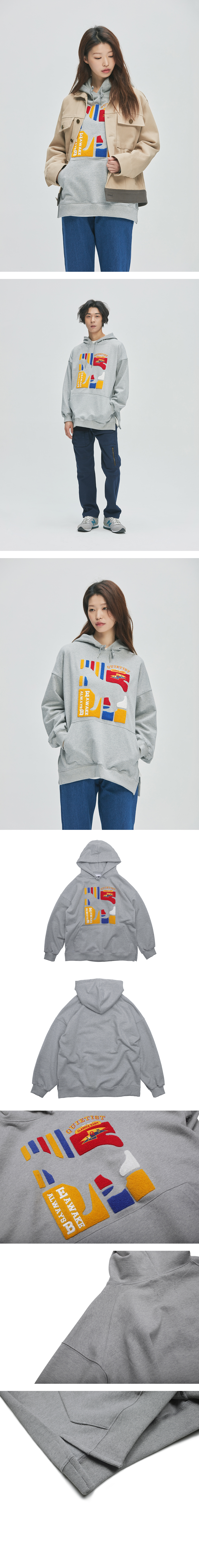 콰이어티스트 Flag Panel Embroi Sweat-Hood (gray)