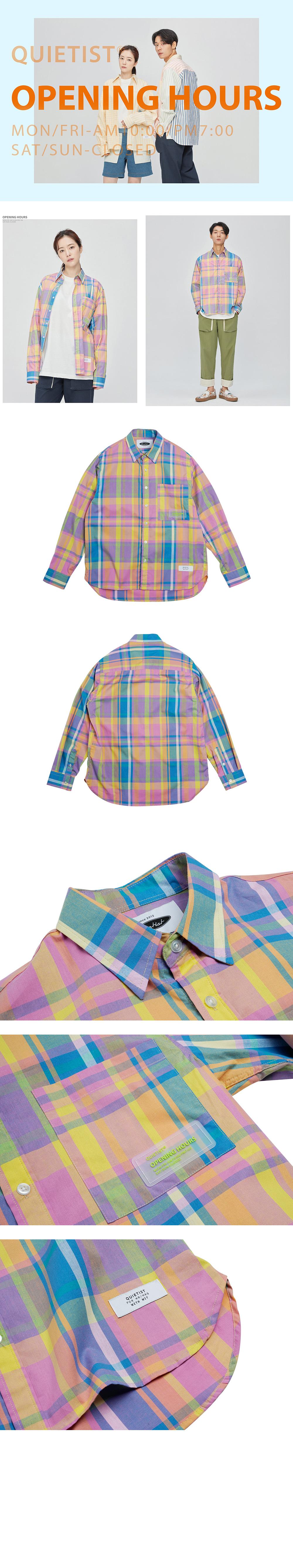 콰이어티스트 Summer Ombre Check-shirts (pink)